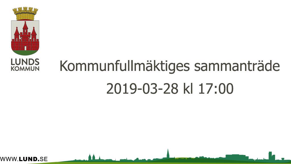 Kommunfullmäktiges sammanträde 2019-03-28