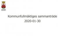 Kommunfullmäktiges sammanträde 2020-01-30 kl 13:30 - 17:30