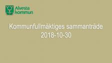 Kommunfullmäktiges sammanträde 2018-10-30
