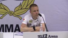 Presskonferensen efter genrepet mot Norrköping