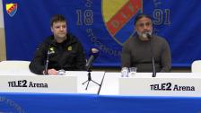 Presskonferensen efter genrepet mot Bodö Glimt